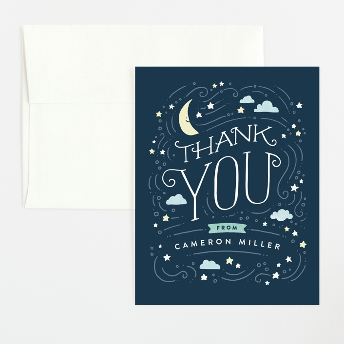 """Moon and stars"" - Flat Baby Shower Thank You Cards in Midnight Blue by Jennifer Wick."