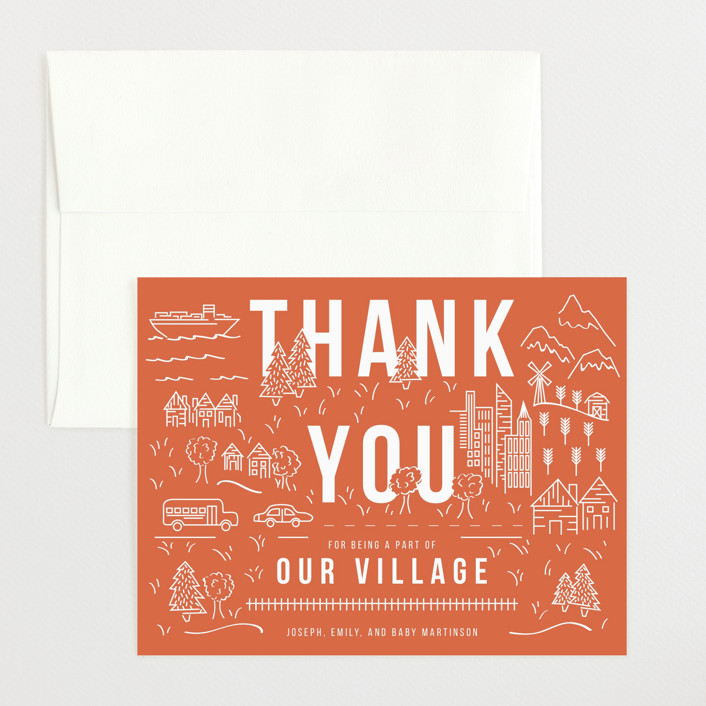 """It Takes A Village"" - Flat Baby Shower Thank You Cards in Coral by Shiny Penny Studio."