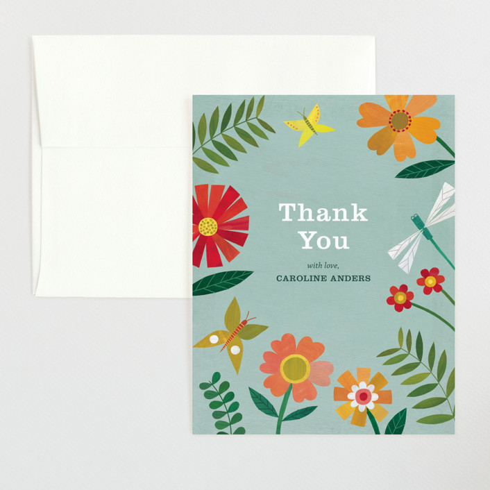 """""""Garden Border"""" - Flat Baby Shower Thank You Cards in Sky by melanie mikecz."""