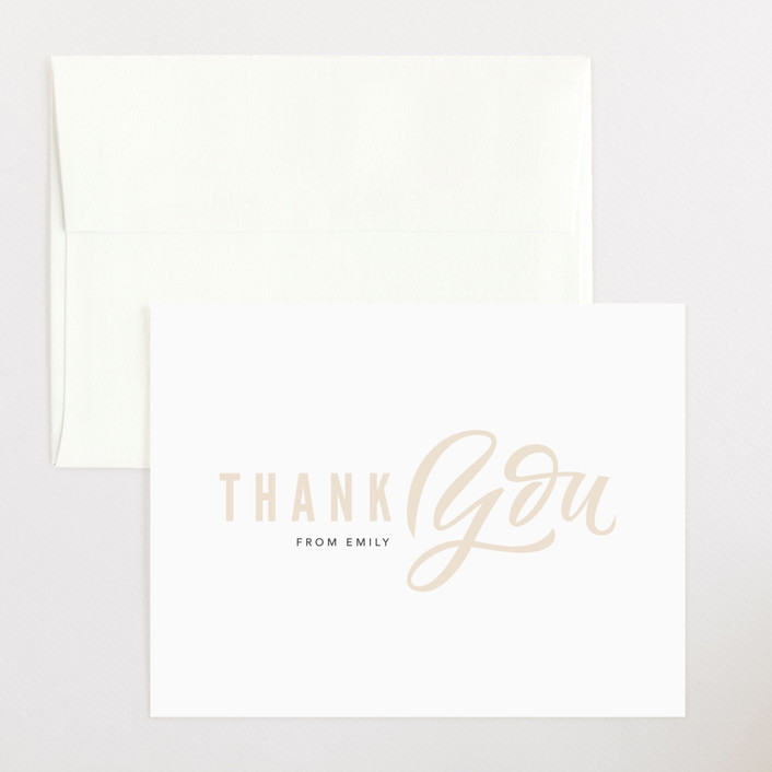 """Hey girl"" - Flat Baby Shower Thank You Cards in Peach by Kristen Smith."