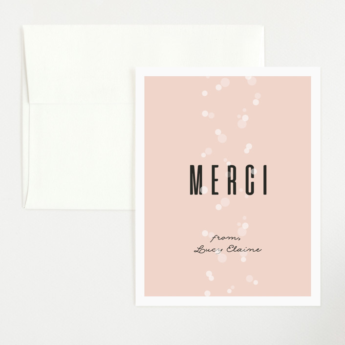 """Rosé Et Bébé"" - Flat Baby Shower Thank You Cards in Rose by Julie Hebert."