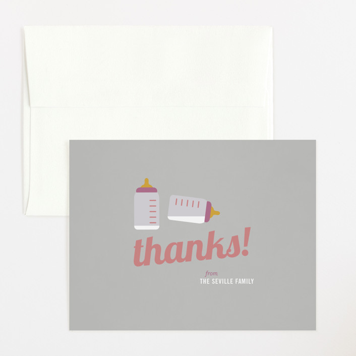 """""""Cheers!"""" - Preppy Flat Baby Shower Thank You Cards in Grey by Picklelily."""