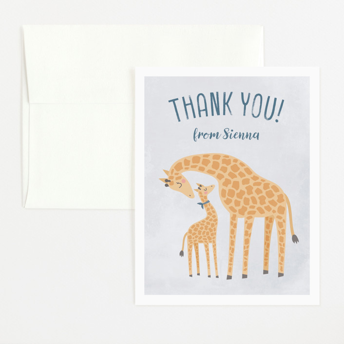 """""""Giraffe Love"""" - Flat Baby Shower Thank You Cards in Bluebell by Ink and Letter."""