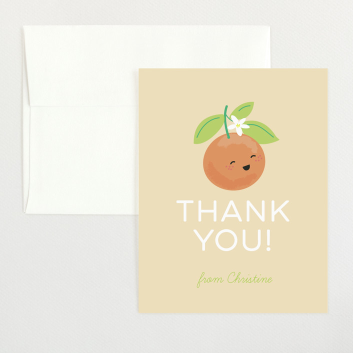 """""""Little Cutie"""" - Flat Baby Shower Thank You Cards in Citrus by Itsy Belle Studio."""