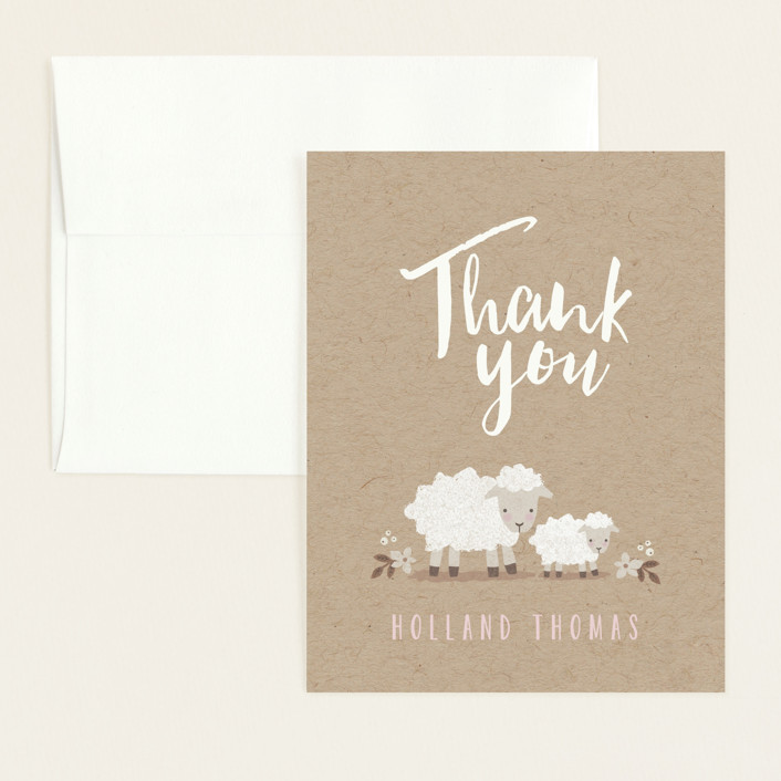 """Little Lamb"" - Flat Baby Shower Thank You Cards in Blush by Karidy Walker."