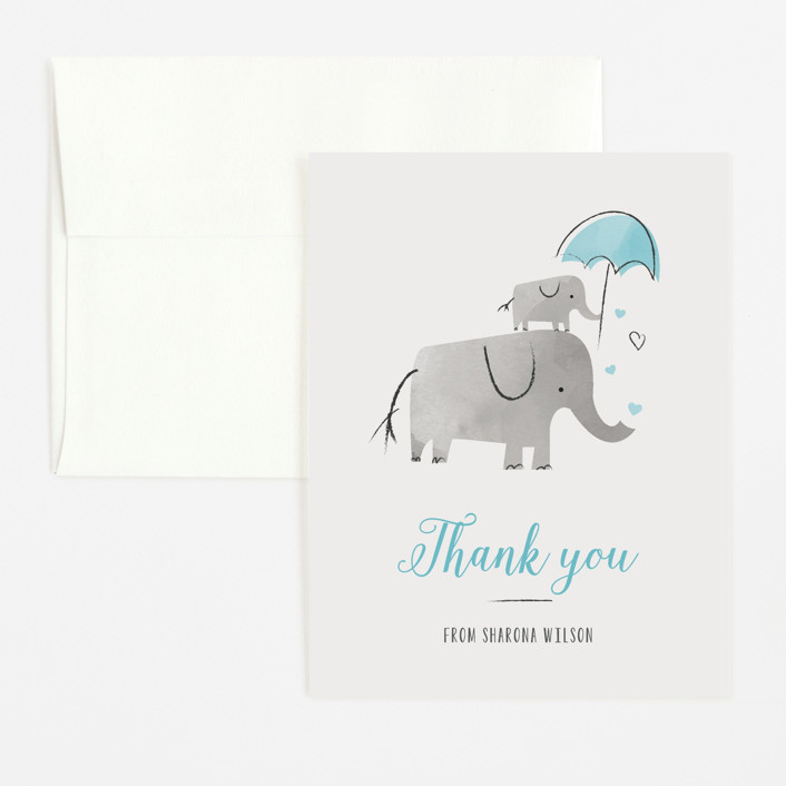 """""""Elephant Love"""" - Hand Drawn Flat Baby Shower Thank You Cards in Sky by Chryssi Tsoupanarias."""