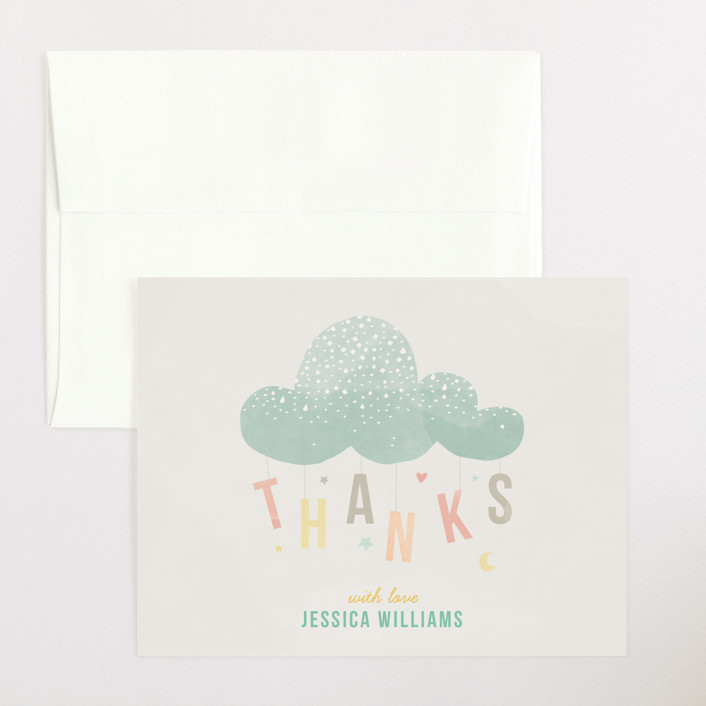 """""""Cloud Charm"""" - Whimsical & Funny Flat Baby Shower Thank You Cards in Sage by Heather Francisco."""