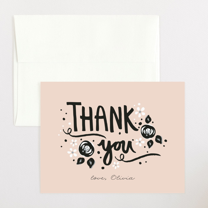 """""""Sugar and Spice"""" - Flat Baby Shower Thank You Cards in Blush by JeAnna Casper."""