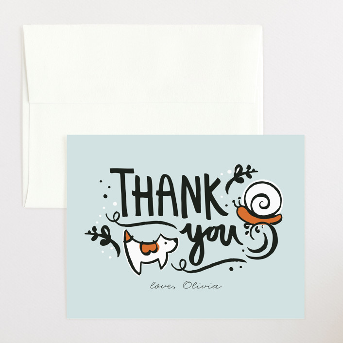 """Frogs and Snails"" - Flat Baby Shower Thank You Cards in Sky by JeAnna Casper."