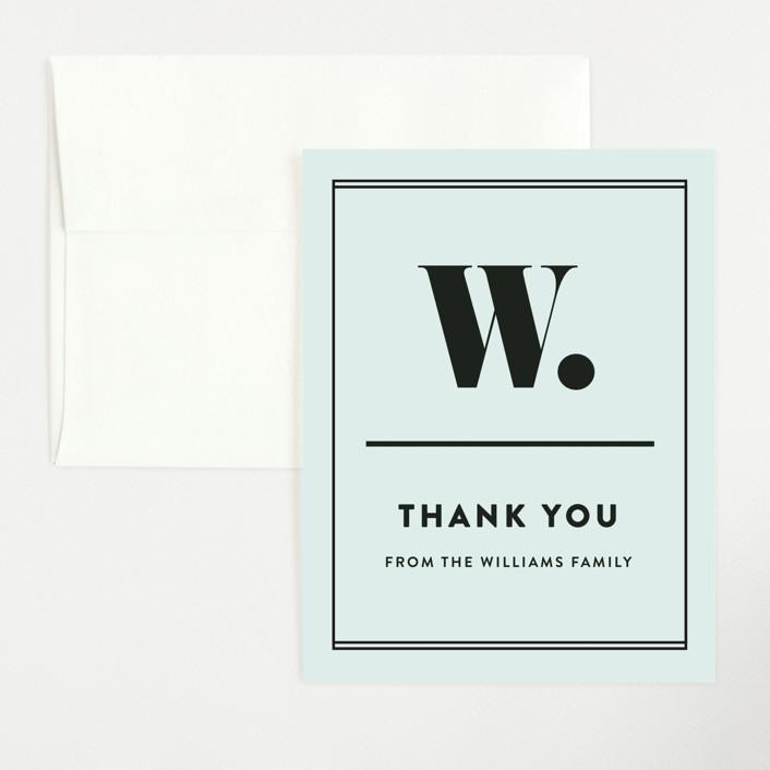 """""""Numero"""" - Flat Baby Shower Thank You Cards in Powder Blue by Dawn Jasper."""