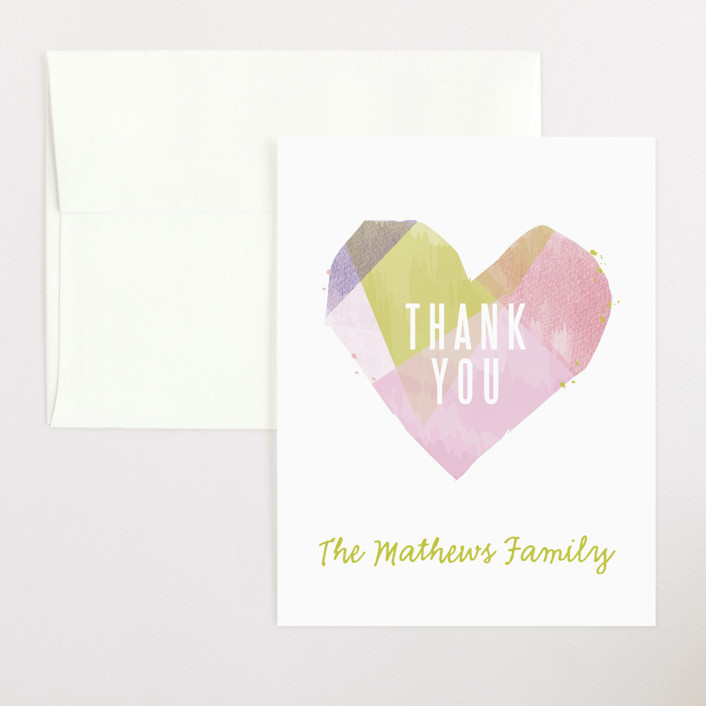 """crafted heart"" - Flat Baby Shower Thank You Cards in Candy by Karidy Walker."