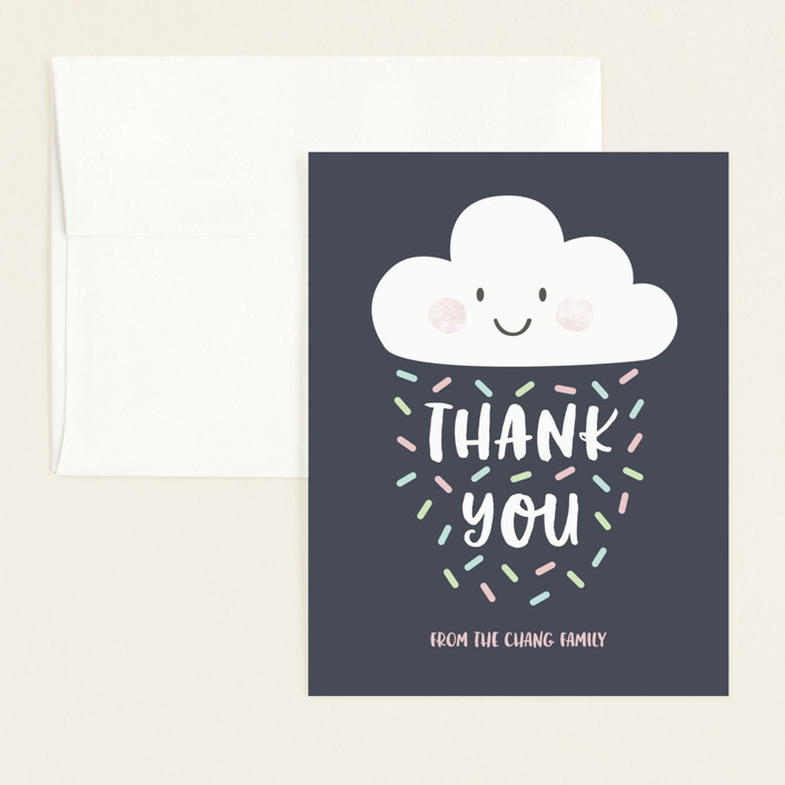 """Cloud Nine"" - Flat Baby Shower Thank You Cards in Midnight by peetie design."