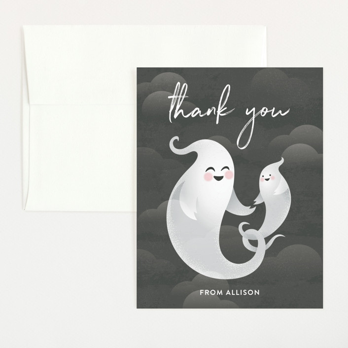"""Little Boo"" - Flat Baby Shower Thank You Cards in Midnight by Jessica Ogden."