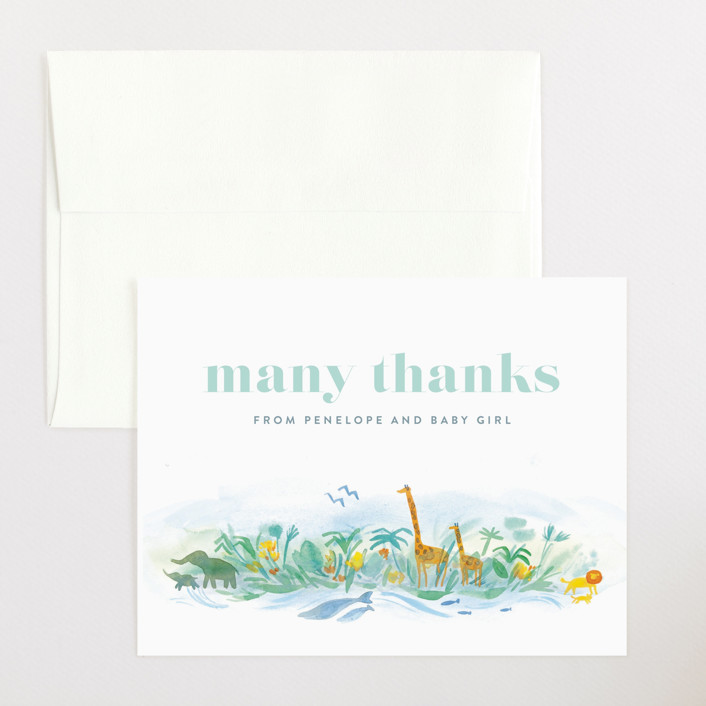 """""""Whole World"""" - Flat Baby Shower Thank You Cards in Whale by Rebecca Daublin."""