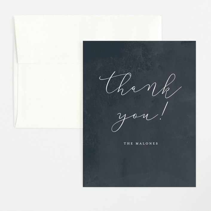 """Simply Perfect"" - Flat Baby Shower Thank You Cards in Navy by peony papeterie."