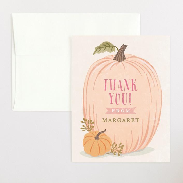 """Autumn Pumpkin"" - Flat Baby Shower Thank You Cards in Peach by Karidy Walker."