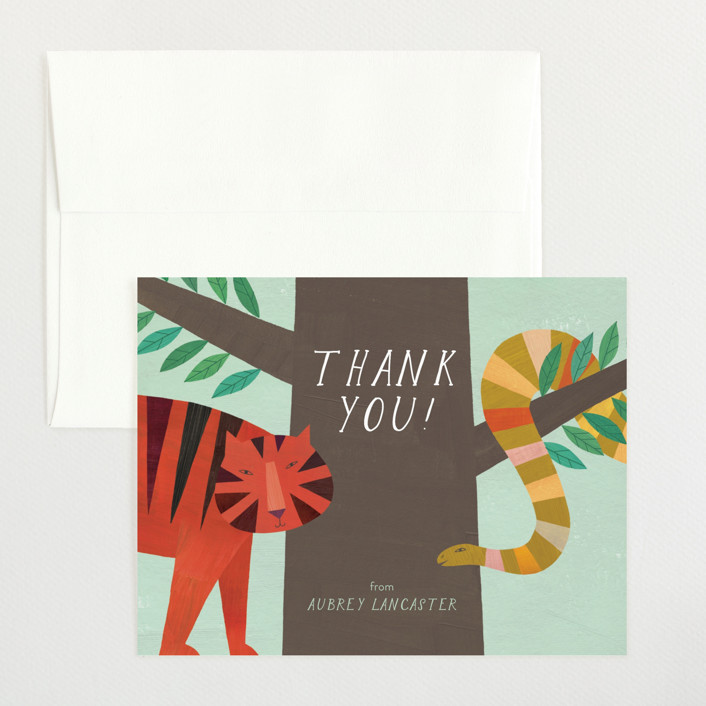 """Jungle Animals"" - Flat Baby Shower Thank You Cards in Forest by melanie mikecz."