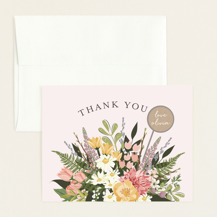 """""""Flowers & Greens"""" - Flat Baby Shower Thank You Cards in Blush by Susan Moyal."""