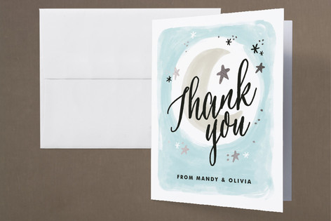 Moonlit Foil-Pressed Baby Shower Thank You Cards