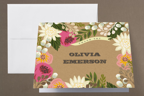 Floral Canopy Foil-Pressed Baby Shower Thank You Cards