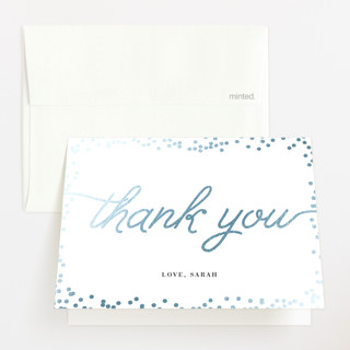 """Starlight"" - Foil-pressed Baby Shower Thank You Cards in Gold by Saltwater Designs."