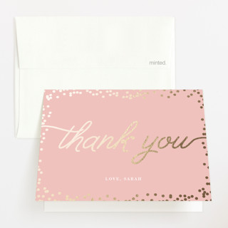 """""""Starlight"""" - Foil-pressed Baby Shower Thank You Cards in Petal by Saltwater Designs."""
