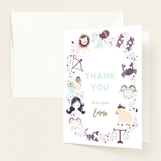 """baby horoscope"" - Foil-pressed Baby Shower Thank You Cards in Mocha by peetie design."