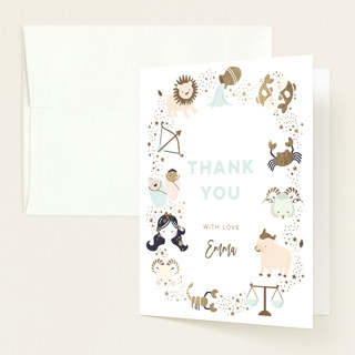 """""""baby horoscope"""" - Foil-pressed Baby Shower Thank You Cards in Mocha by peetie design."""