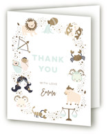 This is a brown baby shower thank you card by peetie design called baby horoscope with foil-pressed printing on strathmore in standard.