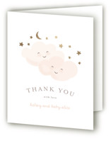 This is a gold baby shower thank you card by Angela Garrick called twinkling with foil-pressed printing on strathmore in standard.