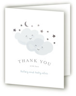 This is a blue baby shower thank you card by Angela Garrick called twinkling with foil-pressed printing on strathmore in standard.