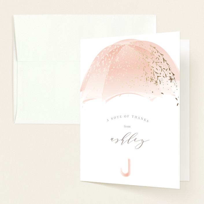 """Sparkling Umbrella"" - Floral & Botanical, Vintage Foil-pressed Baby Shower Thank You Cards in Musk by Phrosne Ras."