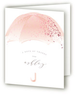 This is a pink baby shower thank you card by Phrosne Ras called Sparkling Umbrella with foil-pressed printing on strathmore in standard.