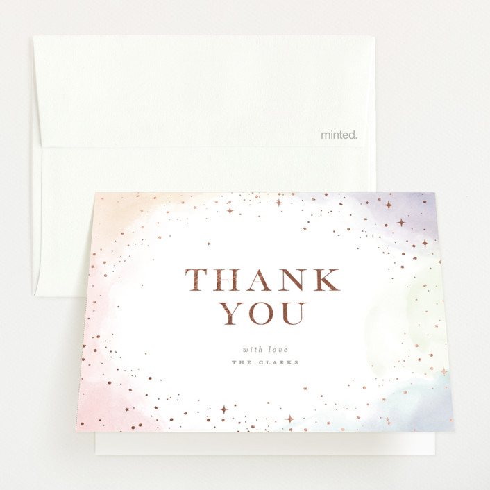 """""""Color Splash"""" - Foil-pressed Baby Shower Thank You Cards in Candy by Pixel and Hank."""