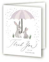 This is a purple baby shower thank you card by Everett Paper Goods called Bunny Shower with foil-pressed printing on strathmore in standard.
