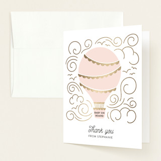 """Liftoff!"" - Whimsical & Funny Foil-pressed Baby Shower Thank You Cards in Blush by Pine and Lark."
