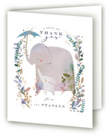 This is a blue baby shower thank you card by Lori Wemple called Elephant Shower with foil-pressed printing on strathmore in standard.