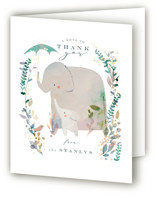 This is a green baby shower thank you card by Lori Wemple called Elephant Shower with foil-pressed printing on strathmore in standard.