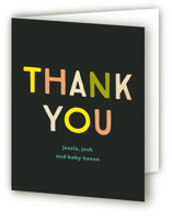 This is a black baby shower thank you card by Baumbirdy called Little Bug with foil-pressed printing on strathmore in standard.