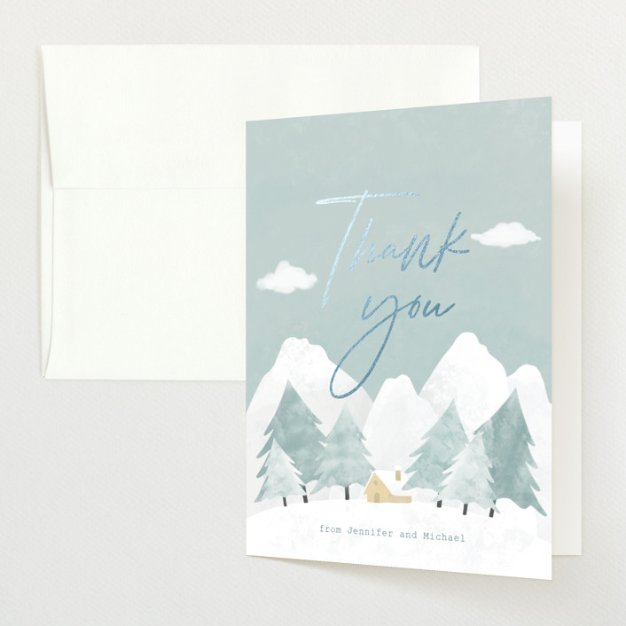 """""""Calm Winter"""" - Rustic Foil-pressed Baby Shower Thank You Cards in Frost by Adelyn T.."""