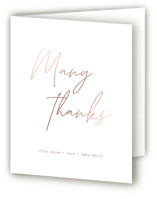 This is a brown baby shower thank you card by Adelyn T. called Minimalist with foil-pressed printing on strathmore in standard.