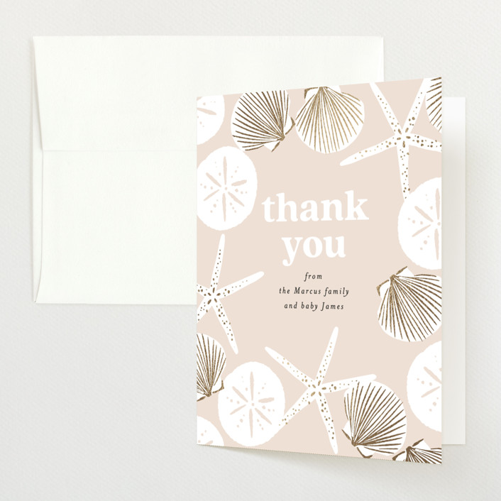 """""""Seashell """" - Whimsical & Funny Foil-pressed Baby Shower Thank You Cards in Sand by Alethea and Ruth."""