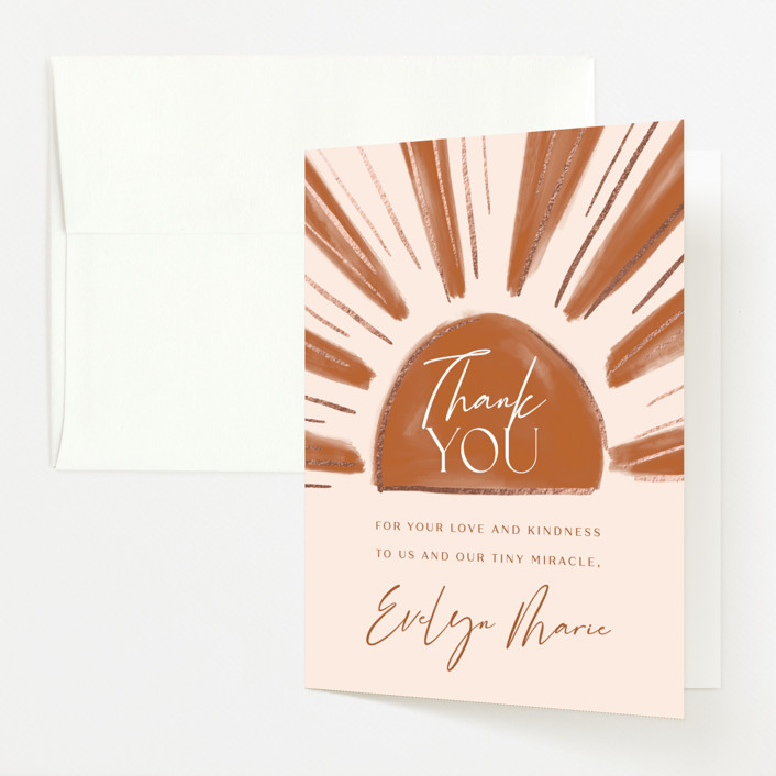 """""""Tiny Miracle"""" - Foil-pressed Baby Shower Thank You Cards in Strawberry by Lissabeth Anglin."""