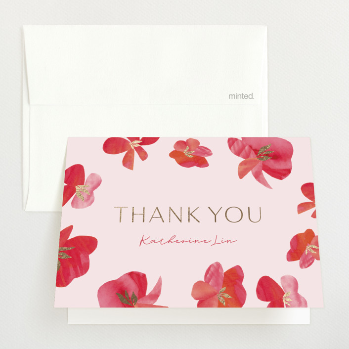 """""""Pretty Petals"""" - Foil-pressed Baby Shower Thank You Cards in Poppy by Olivia Raufman."""