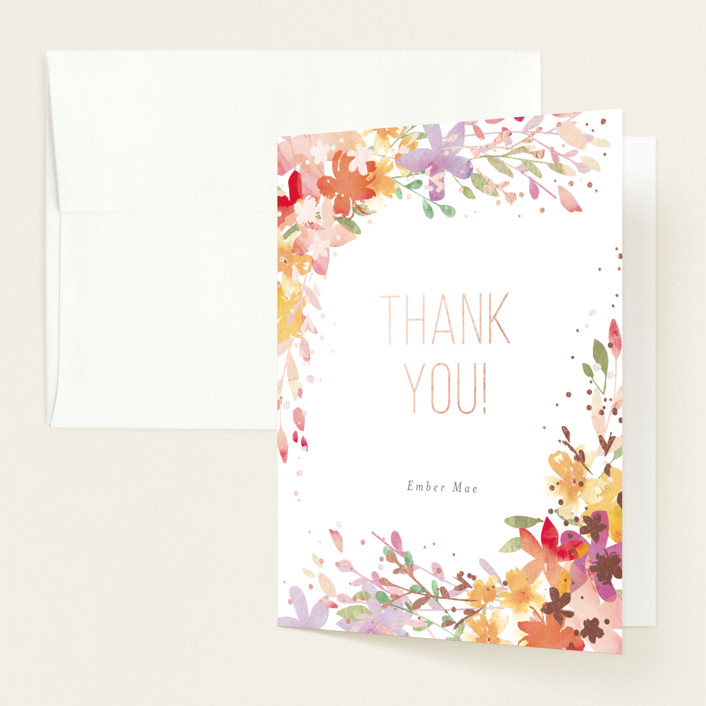 """""""Botanical Sip n See"""" - Whimsical & Funny Foil-pressed Baby Shower Thank You Cards in Vibrant by Itsy Belle Studio."""