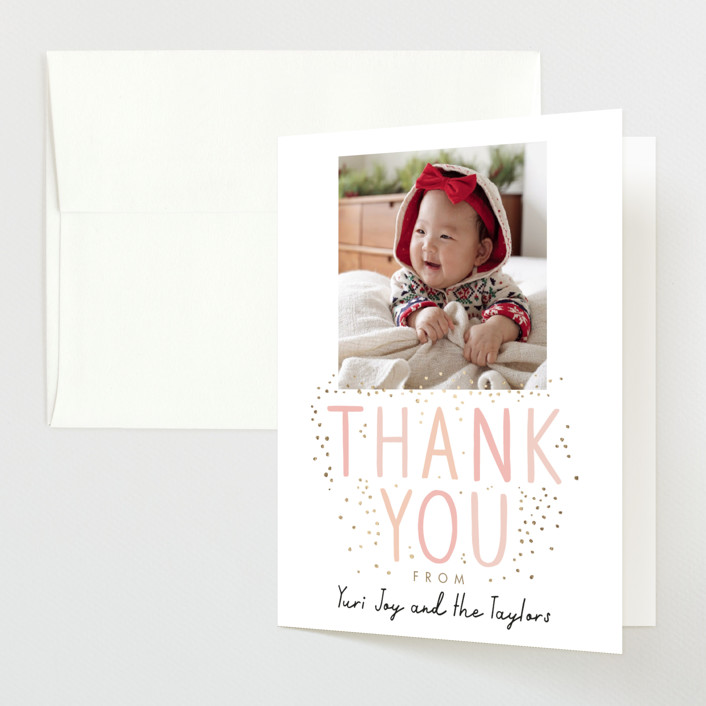 """""""100 days"""" - Foil-pressed Baby Shower Thank You Cards in Blush by Alethea and Ruth."""
