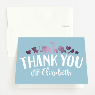 """""""Fancy Zoo"""" - Hand Drawn, Whimsical & Funny Foil-pressed Baby Shower Thank You Cards in Baby Blue by Jessie Steury."""
