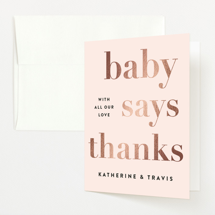 """""""Laud"""" - Foil-pressed Baby Shower Thank You Cards in Pink Lemonade by Jennifer Lew."""