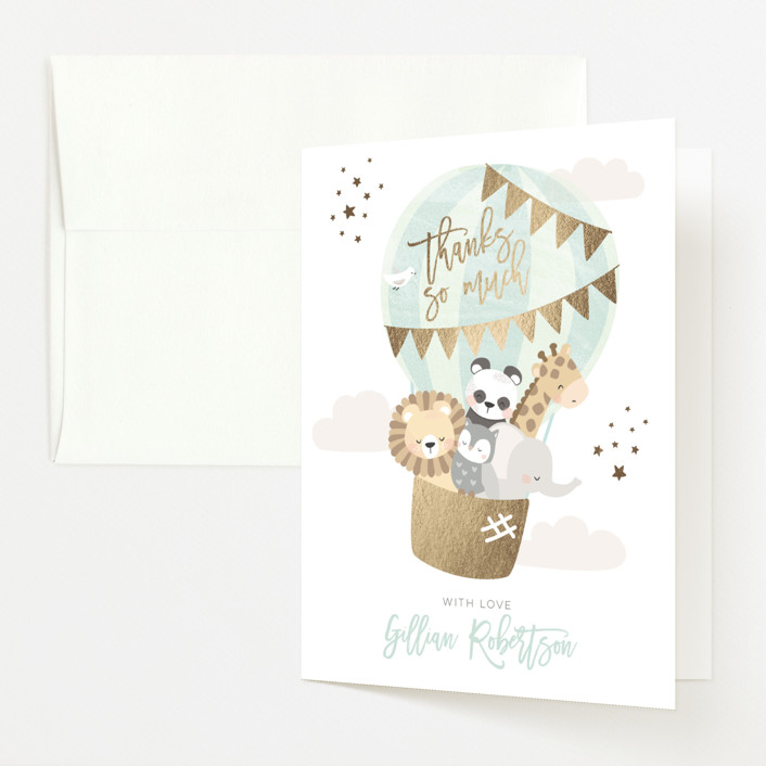 """""""baby balloon ride"""" - Foil-pressed Baby Shower Thank You Cards in Seafoam by peetie design."""
