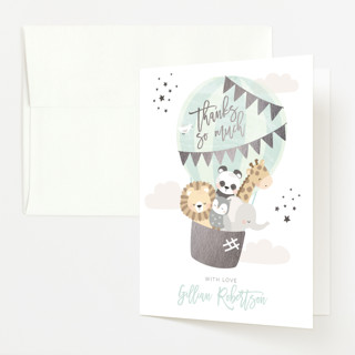 """baby balloon ride"" - Foil-pressed Baby Shower Thank You Cards in Seafoam by peetie design."